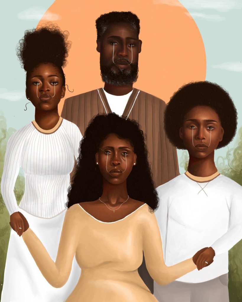 Graphic of Black family infront of sun